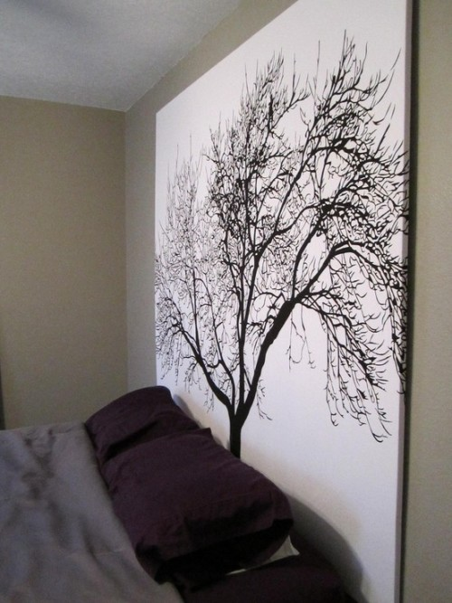 "DIY Headboard Using Popular Tree Shower Curtain. No tutorial, pinned directly onto Pinterest here. But easy to make: staple the shower curtain to a wooden frame (plywood this size is really expensive). To find this shower curtain google ""Tree Shower Curtain"" or see it at Bed Bath & Beyond here for $30. You could also hang this from a curtain rod here."