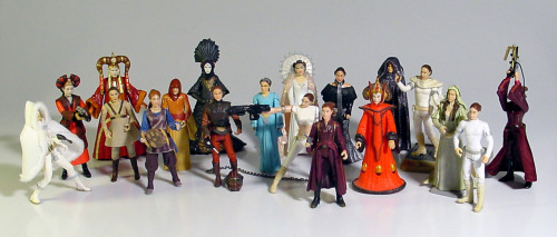 jordanraves:  I have 8 of these. I must have them all.  Yay, my figures! Though I have quite a few more since we took this photo (waiting for the new Ep1 Amidala figure to come out then we'll take an updated pic).