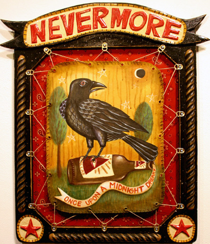 "sharpbrighttactical:  Bryan Cunningham ""Nevermore""21"" x 27.5""Mixed Media On Wood"