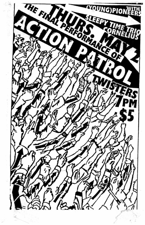 Action Patrol were one of the most popular punk bands in Richmond when I was in high school. This is from their last show, in 1996. If I remember right, Twisters was sold out and full of people singing along. The generation of kids singing along at the show had mostly gotten into punk during the Green Day/Rancid/Offspring boom in '94, and now high school was drawing to a close and we were starting to look to the future. Bands broke up, people moved away…or stuck around and got weird.