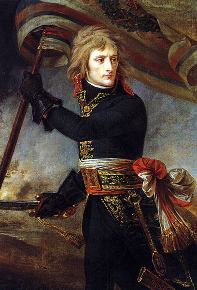 """The first emblematic image of the Napoleonic myth, this painting exalts the virtues of the military leader, as embodied by the young General Bonaparte at the head of the Armée d'Italie. In reality, Arcole bridge was not crossed. But that is not important. Here the artist glorifies the episode and makes it part of the legend. Drive, courage, overpowering will pour out of this edgy yet passionate picture. Gros had in fact been present at the Battle of Arcole, and thanks to the intervention of Josephine, he managed to get Bonaparte in Milan to sit for him several times. What Gros highlights is the image of Bonaparte as the providential saviour, the conquering hero who leads his troops, sabre in hand, seizing victory through his bravery alone."""