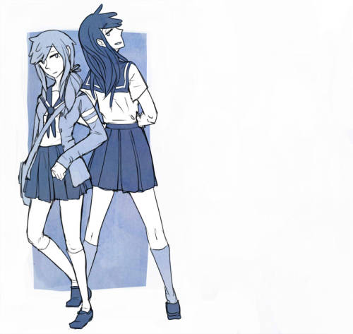 Adrian and Carter as Japanese schoolgirls whut