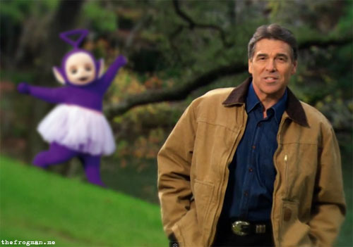 Inserting gay things into Rick Perry 's video.