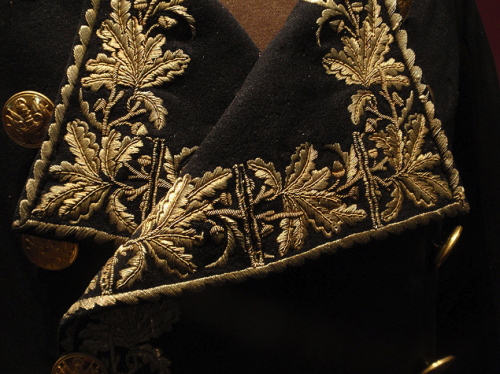 Gold embroidered oak leaves - lapels of one of Napoleon's uniforms