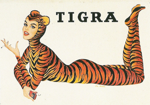 Tigra Cigarettes ad, illustration by Al Moore 1950's