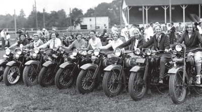Moto ladies at the Hohokus, New Jersey race, early 1930's.