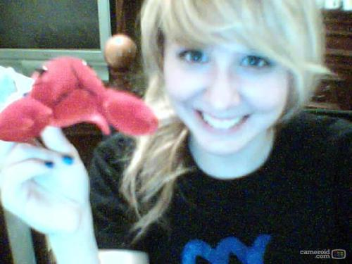 Me and my lobster friend. (crappy camera is crappy)