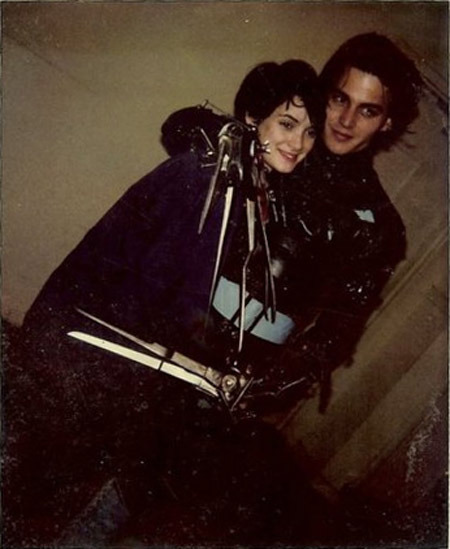 Winona Ryder and Johnny Depp on the set of Edward Scissorhands.