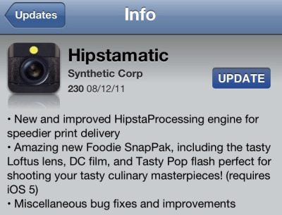 Hipstamatic v230 available now on the App Store.