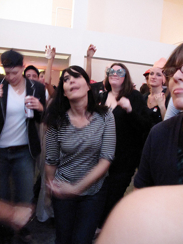 hannahorovitz:  Kathleen Hanna is dancing in the crowd and somewhere in that crowd is Adam Horovitz. Definitely a 'picture or it didn't happen' kind of moment. Such lucky lucky lucky people…. Highland Museum in ATL, 29 October 2011
