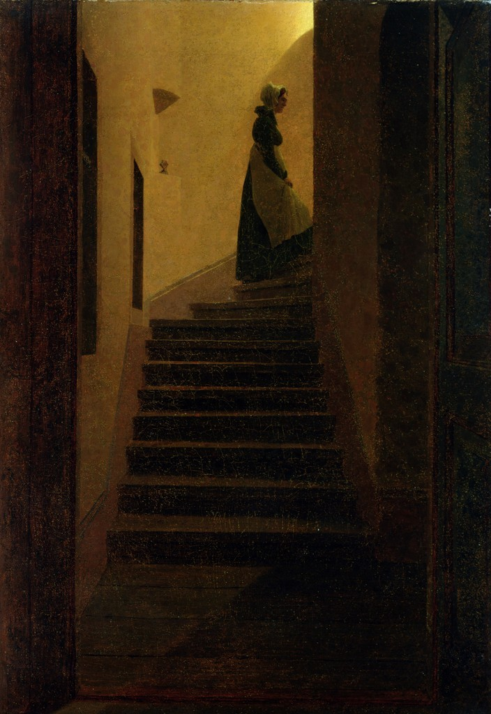 Lady on the Staircase   by  Caspar David Friedrich © Bridgeman Art Library / Private Collection
