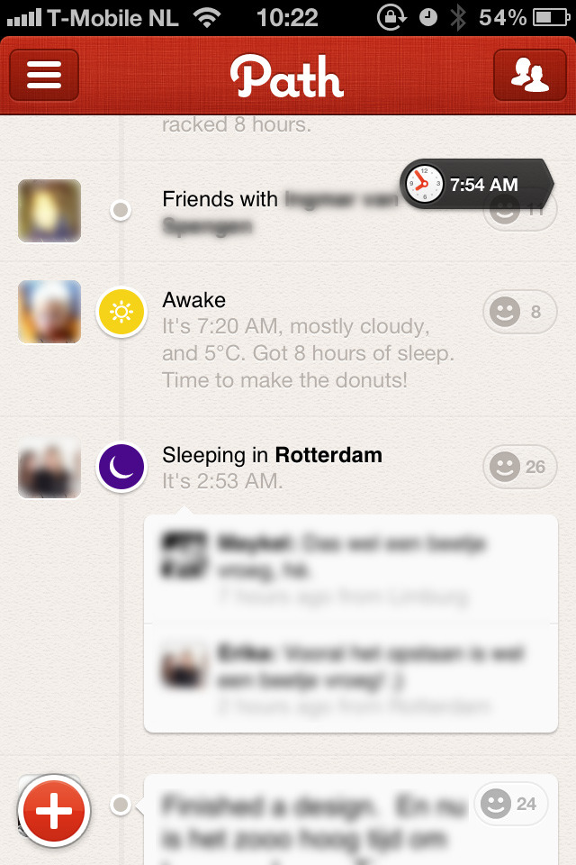Path - When scrolling in the app, the clock updates itself with the time of the update you're looking at. via Rene Sijnke