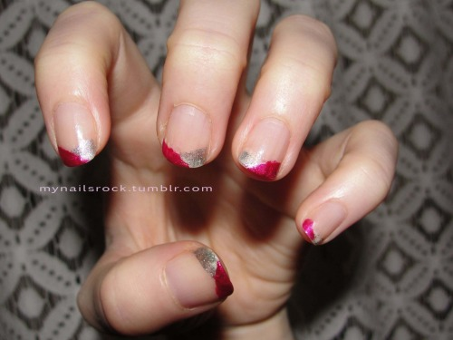 Pink and silver tips.  Here are some angular pink and silver glittery tips.  Lesson learned: don't paint your nails all pretty when you are about to leave for work, put on top coat, then put on your jacket and leave.  Things smear and look less pretty. :( Polish used: Zoya Izzy & Brucci Jessica's Wedding Bells