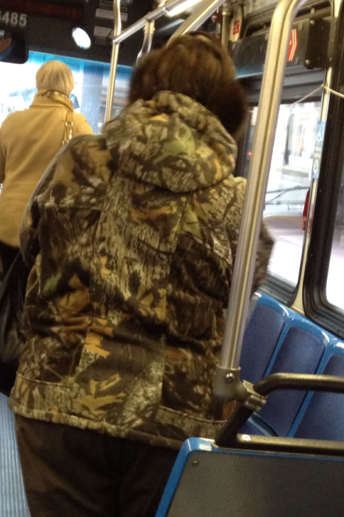 camouflage in the city…sorry, we can still see your bad fashion choice on that bus.