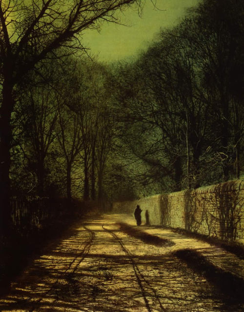 poboh: 1872 John Atkinson Grimshaw (English, 1836-93) ~ Tree Shadows on the Park Wall, Roundhay Park, Leeds