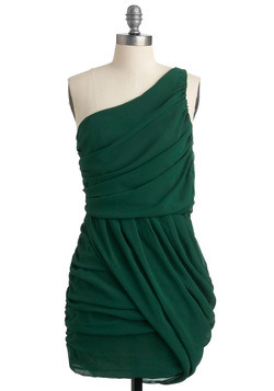 One-shoulder draped evergreen budget bridesmaid alternative dress - $55