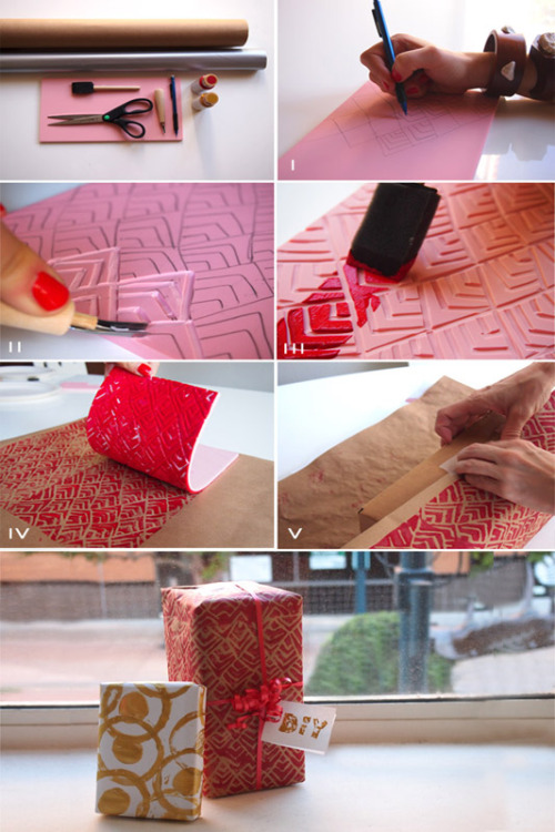 misswallflower:  diy: holiday wrapping paper