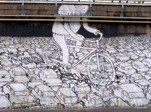 Bicycle graffiti by blue. There is a series of pics from this artist that are pretty interesting to look at.