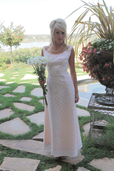 Vintage sheath antique lace wedding dress - $400