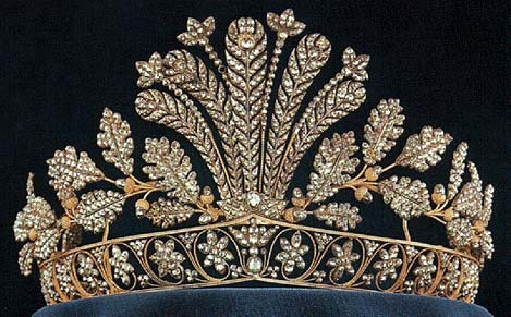 The Swedish vaults: the Napoleonic Cut-Steel Tiara; made of highly-polished cut steel in floral, feather, and leaf designs, set in gold. no gems.  Stunning!!!!