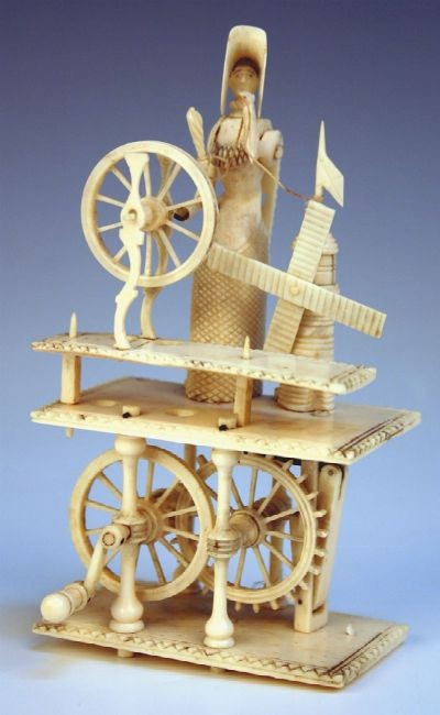 An early 19th Century Napoleonic prisoner of war bone automaton of a lady