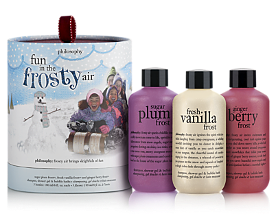 Holiday gift idea for the bathing beauty: This year's shampoo, shower gel and bubble-bath gift set from Philosophy includes three scents: sugar plum, fresh vanilla and ginger berry. Yum!  Fun in the Frosty Air shampoo, shower gel and bubble-bath gift set, $25, philosophy.com