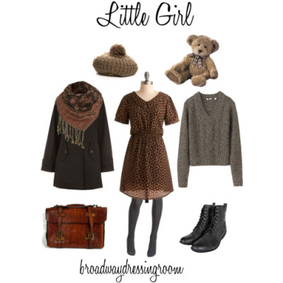 Little Girl by broadwaydressingroom featuring a brown leather messenger bagRetro dress, $43Uniqlo cable knit sweater, £15Oasis, $50Cole Haan tight, $40Mimi Loves Jimi boots, $30Miss Selfridge paisley shawl, £18Nobis oversized beret, $39Personalised Tennyson bear - Tennyson is a gorgeous old fashioned…, £30