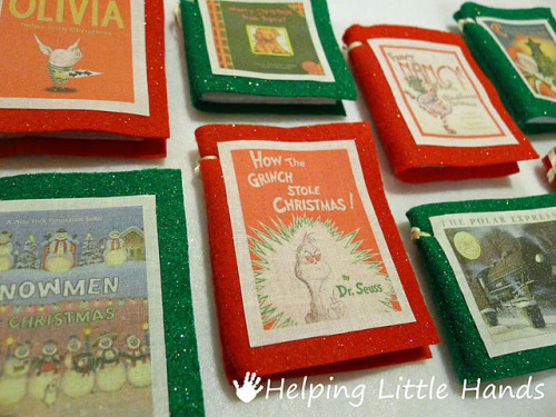 Easy Mini-Book Christmas Ornament Tutorial : Helping Little Hands These adorable felt book ornaments by Polly of Helping Little Hands have so many possibilities to make and personalize. I wonder if I'll get the time to make a couple for my family? (Now with bigger picture!)