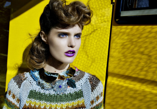 This ultraviolet lipstick would take any outfit up a notch! Katie Fogarty by Thomas Krappitz for Marie Claire Italia September 2011.