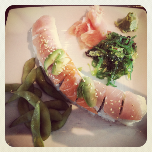 Lunch at work today in SF. Rainbow Roll, Seaweed Salad, Edamame and Kimchi :) (Taken with Instagram)