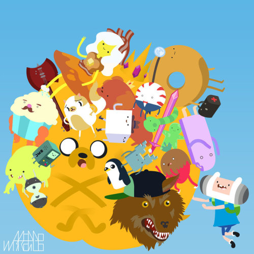 insanelygaming:  Katamari Time - by Adam Bayley Katamari meets Adventure Time!