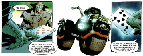 Play your cards right or it's on yer bike - Judge Dredd has a 'Big Deal At Drekk City' in Pt 5 of the tale, Prog 1404.