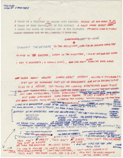 Life During Wartime original handwritten lyrics scan by David Byrne Journal on Flickr. (via meatlydelights)