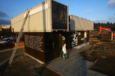 contained:  A Starbucks cafe constructed from shipping containers?! Read: This Starbucks cafe is made from shipping containers | Seattle's Big Blog - seattlepi.com