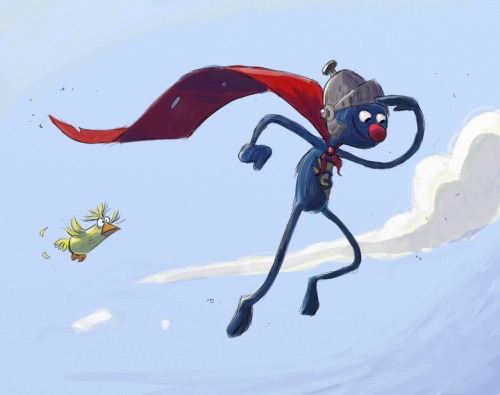 It is I! Super Grover! illustration by Colin Jack :: via jackomtablet.blogspot.com