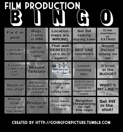 pandasonparade:  goingforpicture:  I made a film production bingo board. I hope you enjoy!  !