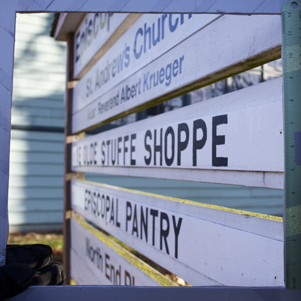 "Signage at St. Andrew's Episcopal Church, ""YE OLDE STUFFE SHOPPE"", on N Lombard St. and N Hereford Ave. If Dave Barry saw this sign I'm pretty sure he'd shit his pants."