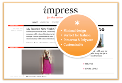 New theme alert! We're happy to announce that our free version of Impress is now available in the Tumblr Theme Garden. Features of Impress: Minimal design is perfect for the fashion and photo-obsessed  Customizable background, border, portrait and more  Social media links include links to Pinterest & Polyvore  Free!  Plus, you can add widgets like Disqus, Twitter and others here. Install Impress now!  |  Preview