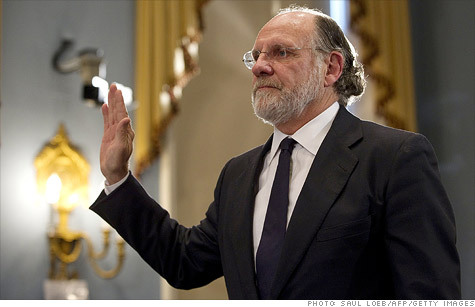 Is the Democratic love affair with Wall Street over? Today, Jon Corzine, a former Goldman Sachs CEO, Democratic senator, and Democratic governor, testified before the House Agriculture committee about the collapse of MF Global and the disappearance of $1.2 billion in customer funds. For more, read Timothy Noah's blog post on what MF Global's collapse means for the future of Democrats' already tenuous relationship with Wall Street. Photo courtesy of CNN Money.