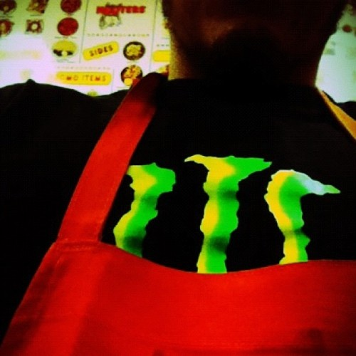 #bored at #work #hooters #monster #orange #apron #kitchen #cooking  (Taken with instagram)