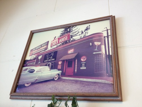 """Never a Bum Steer!"" Auntie Mame's in Scotts Valley, Calif. has a cool pic of Gordon's Chuck House—a relic from a sadly bygone era. 12.9.11 Scotts Valley, Calif. USA"