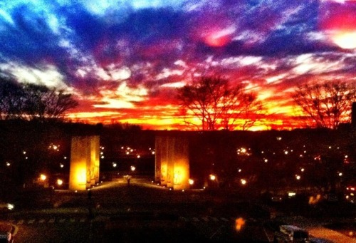 Beautiful sunset over the Pylons at Virginia Tech.