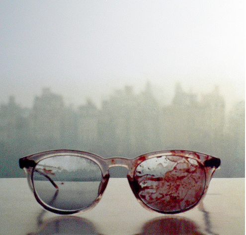 teen-idle-teen-idol:  i-magine-that:  cokofeatneke:  The glasses John Lennon wore when he got shot, 31 years ago. i will always reblog this i dont know there is just something so powerful about this image Wow. This makes me feel so sad. omg Piece of history on my blog.  Yoko took this image on their window sill in the apartment…so sad  ^  why am I crying? :/