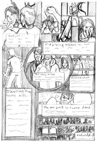 This is page 2 of Illegal. There is a lot going on in this page. I hope my digital magic will be able to pull it together. :)