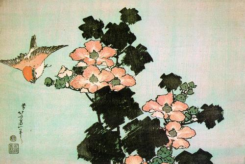 cavetocanvas:  Hokusai, Hibiscus and Sparrow, c. 1830
