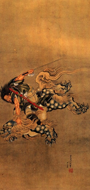 cavetocanvas:  Hokusai, Shoki Riding a Shishi Lion, date unknown