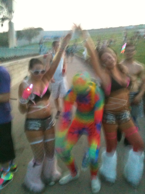 Me and my bestfriend Stef and some guy in a rainbow suit at identity fest in the summer ^.^