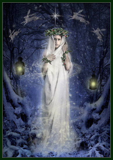 pagan-depot:  Deities of Yule:  All Newborn Gods, Sun Gods,  Mother Goddesses, and Triple Goddesses. The best known would be the  Dagda, and Brighid, the daughter of the Dagda. Brighid taught the smiths  the arts of fire tending and the secrets of metal work.  Brighid's  flame, like the flame of the new light, pierces the darkness of the  spirit and mind, while the Dagda's cauldron assures that Nature will  always provide for all the children.  Symbolism of Yule: Rebirth of the Sun, The longest night of the year, The Winter Solstice, Introspect,  Planning for the Future. Symbols of Yule: Yule log, or small Yule log with 3 candles, evergreen boughs or wreaths,  holly, mistletoe hung in doorways, gold pillar candles, baskets of  clove studded fruit, a simmering pot of wassail, poinsettias, christmas  cactus. Herbs of Yule: Bayberry, blessed thistle, evergreen, frankincense holly, laurel, mistletoe, oak, pine, sage, yellow cedar. Foods of Yule: Cookies and  caraway cakes soaked in cider, fruits, nuts, pork dishes,  turkey, eggnog, ginger tea,  spiced cider, wassail, or lamb's wool (ale,  sugar, nutmeg, roasted apples). Incense of Yule: Pine, cedar, bayberry, cinnamon. Colors of Yule: Red, green, gold, white, silver, yellow, orange. Stones of Yule: Rubies, bloodstones, garnets, emeralds, diamonds. Activities of Yule: Caroling, wassailing the trees, burning the Yule log, decorating the  Yule tree, exchanging of presents, kissing under the mistletoe, honoring  Kriss Kringle the Germanic Pagan God of Yule  Spellworkings of Yule: Peace, harmony, love, and increased happiness. Deities of Yule: Goddesses-Brighid, Isis, Demeter, Gaea, Diana, The Great Mother.  Gods-Apollo, Ra, Odin, Lugh, The Oak King, The Horned One, The Green  Man, The Divine Child, Mabon.