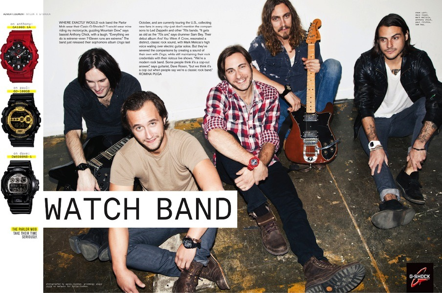 I shot Jersey band The Parlor Mob for a Casio watch advertorial in new issue of Nylon Guys.