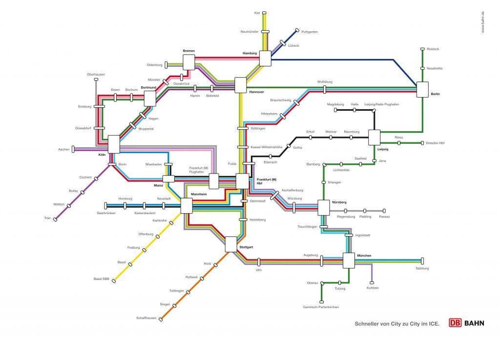 Fantasy Map: Deutsche Bahn ICE Network as a U-Bahn Map Clever work here from the German office of Ogilvy Advertising, taking the familiar iconography of a typical German-styled U-Bahn map and applying it - and its associated promises of rapid, frequent service - to the Germany-wide ICE (high-speed train) network. My only problem with this work is that the shape of the network bears little resemblance to Germany itself, probably because of the landscape format of the bilboard. (Source: Viralbuzz.de and Design Made in Germany)